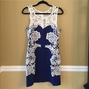 NWT, blue and white lace dress, size small